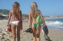 cute women's back in bikini at the beach